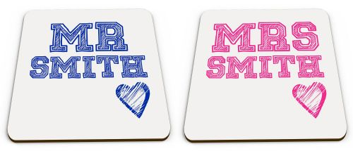 Personalised Set Of 2 Mr & Mrs Novelty Glossy Mug Coasters - Blue & Pink